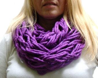 Purple Arm Knit Circle Scarf, Spring Infinity Scarf, Plum Purple Scarf, Super Chunky Cowl, Arm Knitted Scarf, Purple Spring Scarf