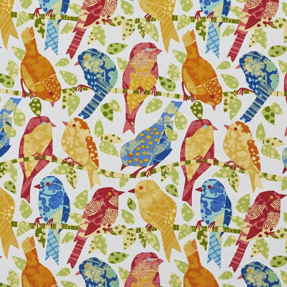 Rainbow Colored Various Birds Indoor Outdoor Upholstery Fabric By ...