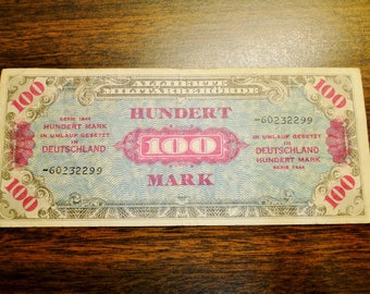 1944 Germany 100 Mark Allied Military Currency - Very Nice Note!