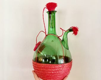 Vintage - Green Glass Wine Decanter - Pink Corks - Pink Woven Wicker Base Cover - Ice Chamber
