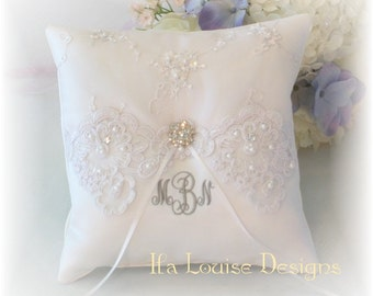 Ring Bearer Pillow, White Ring Bearer Pillow, Monogrammed Ring Bearer Pillow, Personalized Ring Bearer Pillow