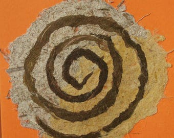Double mandala - tracing paper - card. Unique spiral design