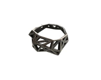 statement ring - Slim Triangulated Ring in Dark Steel. 3d printed, geometric triangle jewelry, modern statement jewelry