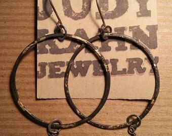 Blackened Hoop Earrings with Bronze Leaf and Lemon Quartz