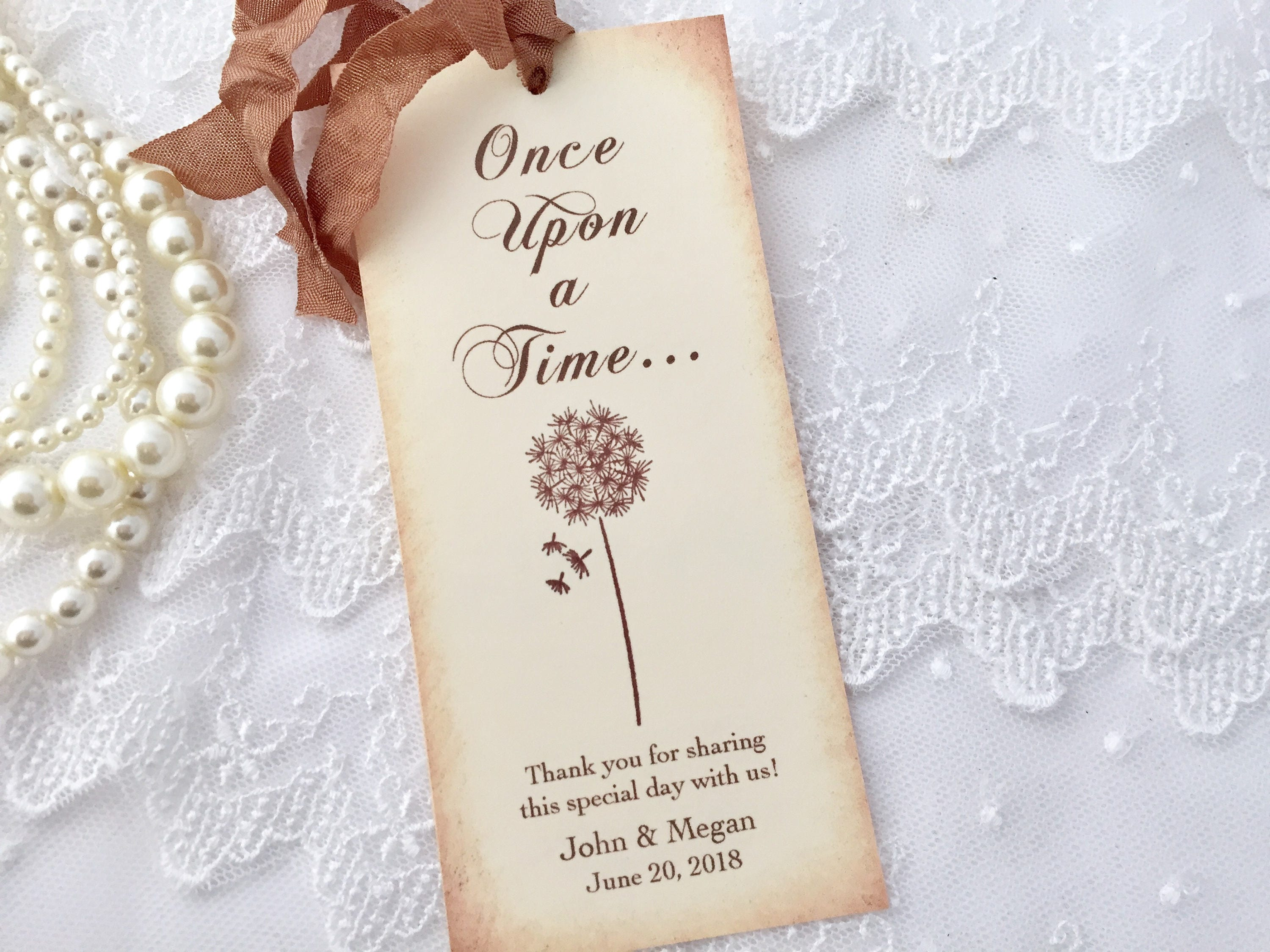 Fairytale Favors Dandelion Bookmarks Once Upon a Time