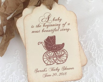 Baby Shower Favor Tags Storybook Tags Personalized Carriage Pram Set of 10