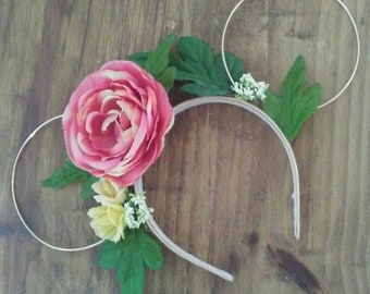 Pink and Yellow Rose Floral and Wire Mouse Ears
