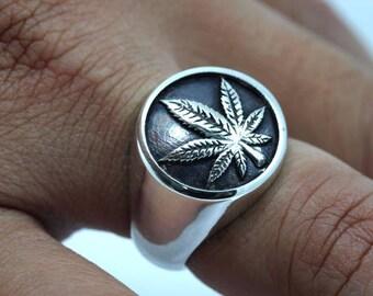 Marijuana Pot Leaf Cannabis Smoke Weed Ganja Oxidized Sterling Silver Ring