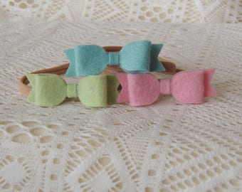 Set of 3 Small Easter color Wool Felt Bows