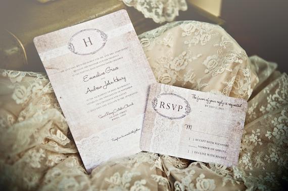 Rustic Romantic Wedding Invitations: Linen Lace Wedding Invitation /// Vintage Rustic Romantic