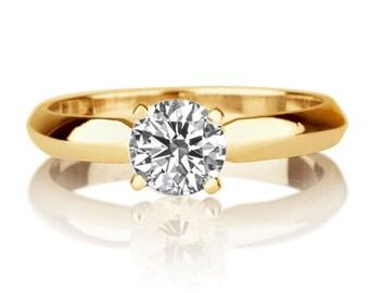 Forever One Moissanite Ring, 14K Gold Ring, Classic Solitaire Engagement Ring, 0.50 CT Moissanite Solitaire Ring