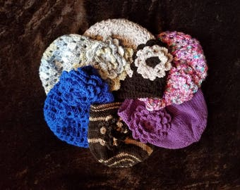 Crochet Ponytail Beanie Hat With Flower