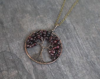 Garnet Tree of Life Necklace, Wire Wrapped Tree of Life,  January birthstone, BIrthstone Necklace, Mother's Day Gift