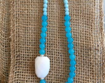 Quartz turquoise perles collier, Quartz en marbre blanc, Quartz opale péruvienne, superposition, Style BoHo, Hippie, Preppy, collier de déclaration, mer