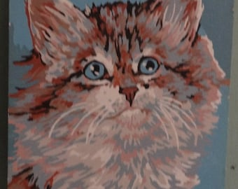 Vintage Paint by Number cat/calico/white/brown cat painting/Feline/Cat Lover/Blue Eyed Kitten