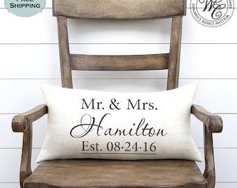 Wedding gift,  Monogram Pillow,  Wedding Gifts, Wedding Gifts for Couple, Personalized Pillow, Personalized Wedding Gift, Burlap