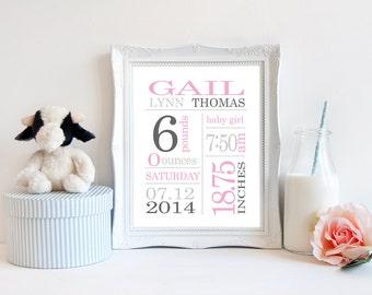 Newborn Baby Girl Gift, Personalized Baby Stats Birth Announcement, baby name art, Subway Art Print, Birth Stats Baby Keepsake Details