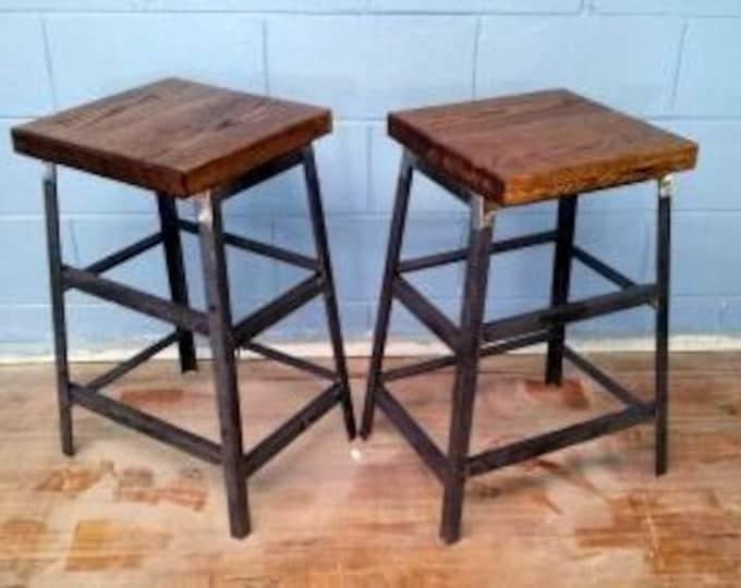 Reclaimed Wood and Steel Stool Wood Stool Metal Stool Bar Stool Counter Stool