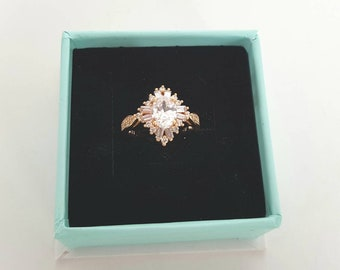 Art Deco Ring Vintage Ring Rose Gold Ring  1930s Ring Vintage Engagement Ring Sapphire Ring Starburst Ring