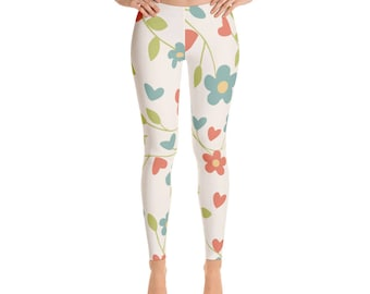 Leggings,Floral,Flowers,Blue,Womens,Yoga,Workout,Tights,Pants,Stretch,Spandex,Print,Pattern,Stretchy,Clothing,Fashion,Unique,Printed,Design