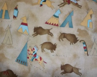 100% Cotton Fabric Indians, Teepees and Buffalo