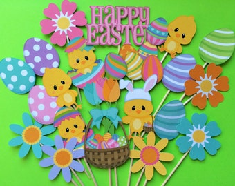Easter cupcake toppers, Easter toppers, spring cupcake toppers, Easter party toppers, chick toppers, egg toppers, Easter and spring cupcake