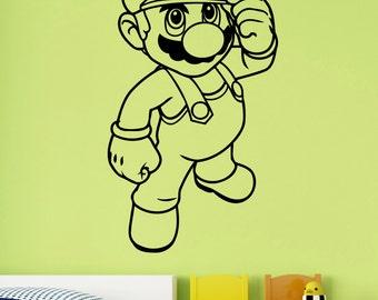 Super Mario Bros Sticker Vinyl Wall Decal Cartoon Art Decorations for Home Boys Kids Childrens Room Nursery Video Game Decor sum3