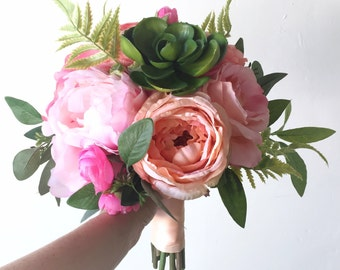 Succulent Silk Flower Wedding Bouquet Peony Rose Fern Peach Pink Pastel Bridal Bouquet Brides Flowers