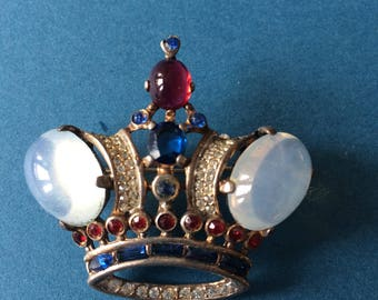 Trifari Sterling Alfred Philippe Crown Brooch c1940+