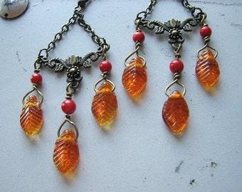 Leaf earrings   autumn   orange   fall   dangle   woodland   boho chic   chandelier   final sale