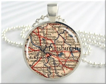Pittsburgh Map Pendant, Resin Charm, Pittsburgh Pennsylvania, Map Necklace, Picture Jewelry, Gift Under 20, Round Silver Pendant 583RS
