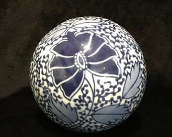 Blue and White Porcelain Sphere - Decorative Ball - Decorative Orb - Vintage