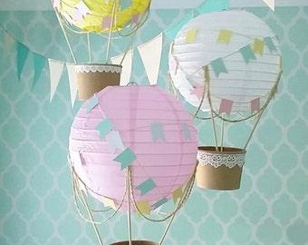Whimsical Hot Air Balloon Decoration DIY kit , Nursery Decor , Baby Shower Decor , DIY Wedding Decor , Travel Theme Decor - set of 3