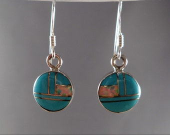Southwest Style Turquoise and Opal Sterling Silver Dangle Earrings