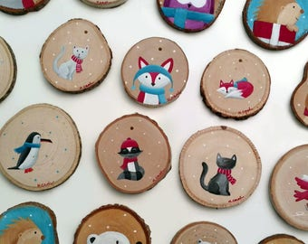 Custom Hand-Painted Wood Slice Ornament - Woodland Animals
