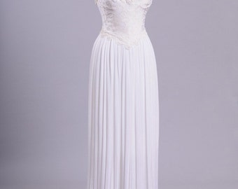 1980 Beaded Fortuny Vintage Wedding Gown