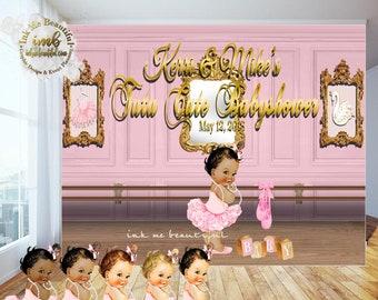PRINTABLE Tu Tu Cute Backdrop, Ballerina Themed Candy Table Backdrop, Photo Backdrop, Step and Repeat, Ballerina Birthday Party