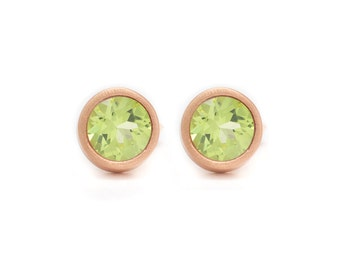 Peridot Stud Earrings - Gemstone POP Stud Earrings - Rose Gold Studs - Peridot in Rose Gold - 18k Rose Gold Vermeil - Studs