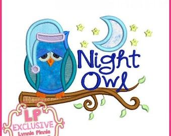 NIGHT OWL Applique Machine Embroidery Design File 4x4 5x7 6x10