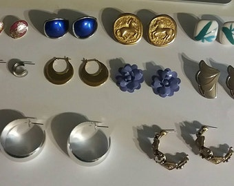 Clearance 10 Pairs of Earrings Variety of Earrings All Stud Back All As Is Costume Jewelry
