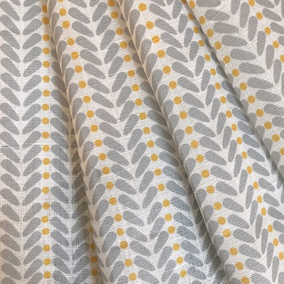 Yellow and Grey Fabric Curtain Fabric Scandinavian Fabric