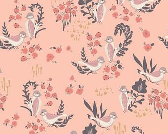1/2 yard  Organic HELLO, OLLIE by Bonnie Christine for Art Gallery Fabrics Feathered Fellow Blush