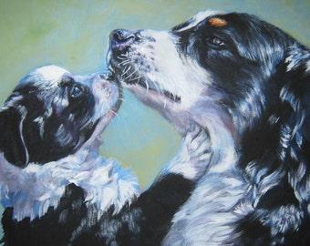 Australian Shepherd art CANVAS print of LAShepard painting 12x16 dog portrait