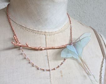 Handmade Luna Moth Silk Organza Fabric Butterfly Necklace on Electroformed Real Branch Tree in Copper with Opaline Crystals - One of a Kind