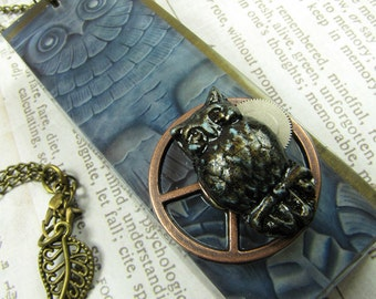 FULL MOON Owl Steampunk Architectural Resin Pendant with Antique Brass Necklace
