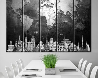 World map, black and white, Black & white Map, wall decor, gray world map, Decor in the office, Black white Map, world map canvas, Wall art