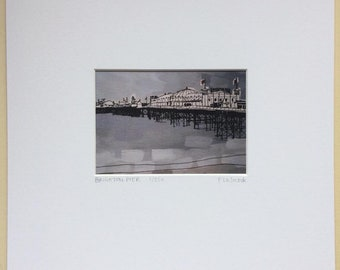 Mounted limited edition print, Brighton Pier view, by Flo Snook