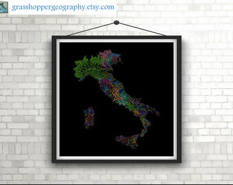 river basins of italy in rainbow colours high resolution digital print map print wall art poster map home decor wall decor printable