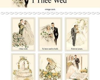 vintage wedding postcards printable bride groom cards 5 by 7 and 3 by 42 instant download diy wedding digital postcards