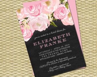 Shabby Chic Bridal Shower Invitation Chalkboard Floral Pink Roses Pink Peonies Bridal Brunch Vintage Bridal Tea, ANY EVENT